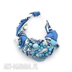 lazurowe wybrzeże naszyjnik handmade, naszyjnik, niebieski, błękitny, lazurowy