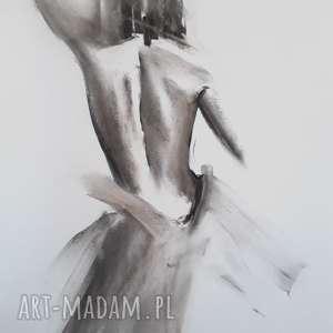 galeria alina louka dress 50x70, grafika kobieta, czarno biała grafika, rysunek