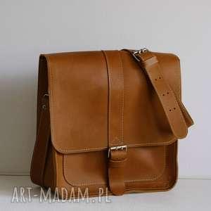 torba na ramię ze skóry naturalnej, męska listonoszka, skórzana torba, brązowa