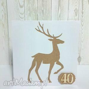 leśne życzenia - 40, kartka, zaproszenie, jeleń