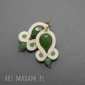 kolczyki sutasz z jadeitami, soutache, sznurek, zielony, kremowy, eleganckie