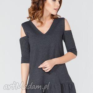 handmade sukienki sukienka mini z odkrytymi ramionami t113 kolor ciemnoszary - tessita