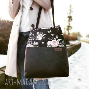 na ramię torba róże i czerń, torba, duża shoperka, torebka