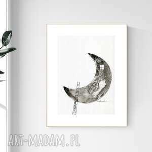 plakaty grafika a4 malowana ręcznie, minimalizm, abstrakcja czarno-biała