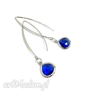 kolczyki typu rybki z kryształem cobalt blue, rodowany, kolczyki, długie