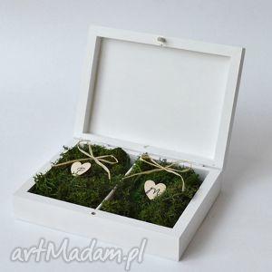 ręcznie zrobione ślub pudełko na obrączki ślubne rustykalne