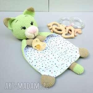 Przytulanka szmatka zielony kot zabawki b a o l przytulanka