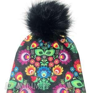 czapki czapka beanie pompon z futra, folk, kwiaty, beanie, prezent, pompon, jenot