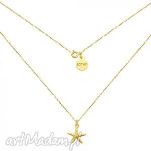 złoty naszyjnik z rozgwiazdą, modny, naszyjnik, rozgwiazda, srebro, minimalistyczny