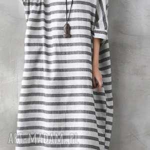 sukienki lniana sukienka oversize w paski, len, mama, sukienka