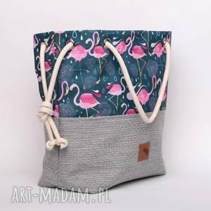 Torebka worek we flamingi i geometryczne wzory rączki ze sznurka , kolorowa
