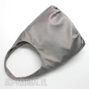 torba hobo - tkanina szara, elegancka, nowoczesna, pakowna, hobo, prezent