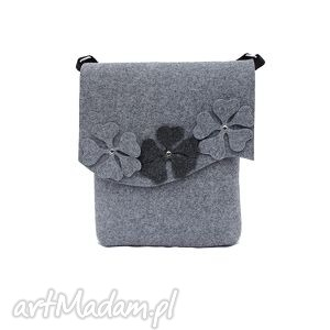 na ramię listonoszka filcowa z kwiatkami, listonoszka, filc, ramię, torba