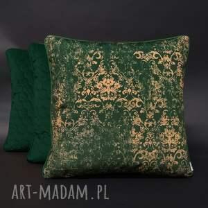 poduszki welurowe zielone wzór ornament zieleń 45x45cm, ozdobne