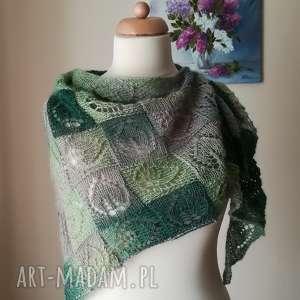 spring leaves dianna w zieleni, rękodzieło, dianna, chusta, styl, prezent, liście