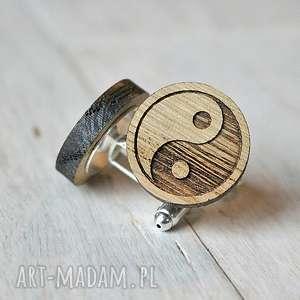spinki do mankietów dębowe drewniane yin yang, spinki, równowaga