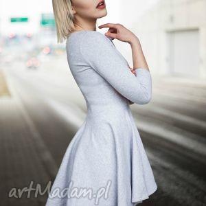 sukienka tył dłuższy - hb-2 sz, sukienka, dresowa, koło, szara ubrania