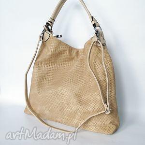 Duża torba na ramię beżowa, torba, torebka, worek