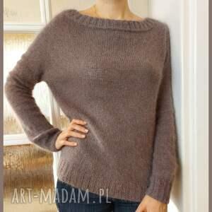kaszmirowy pulower w kolorze mlecznej czekolady, sweter, kobiecy