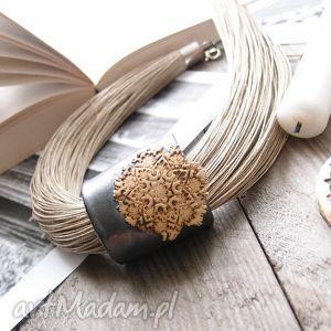 ręcznie zrobione naszyjniki naszyjnik lniany turna