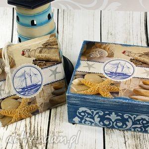 Morska szkatułka - komplet pudełka shiraja szkatułka, pudełko