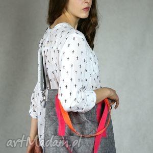 Szara prostokątna torba A4 z kolorowymi rączkami, torba, pikowana, pikówka,