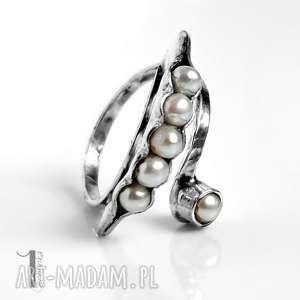 pearly husk ii srebrny pierścionek z perłami, pierścionek, srebrny, regulowany