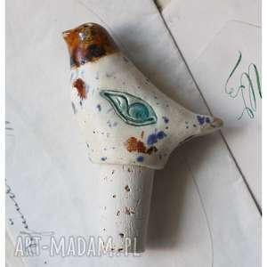 Korek do wina z kolorowym ptaszkiem, ceramika, ptak, korek