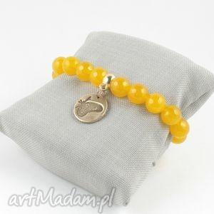 bransoletka żółty motyl, brąz