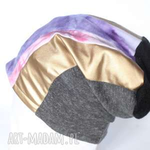 czapka damska szyta patchworkowo, patchwork, czapka, damska, ciepła, złota, rower