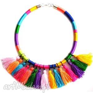 Colorfull, etniczny, naszyjnik, kolorowy, chwosty, chwościki, orientalny