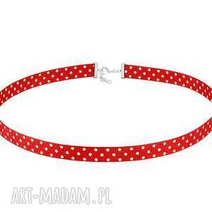 handmade naszyjniki czerwony choker w kropeczki