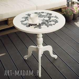 stoły white black - stolik kawowy okrągły, stół, stolik, ceramika, drewno