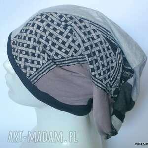 czapka damska etno boho folk patchwork na podszewce,długa smerfetka, box