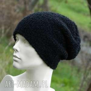 czapki alpaca boucle efektowna zimowa czapka czarna, boucle, dziergana