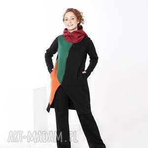 kolorowy płaszczyk bawełniany, indywidualne zamówienie płaszcz damski, długa