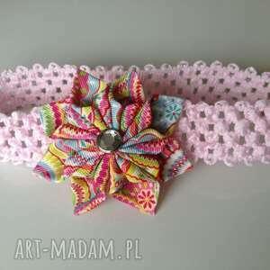 hand-made dla dziecka opaska niemowlęca - ażurowa kolorowy kwiat