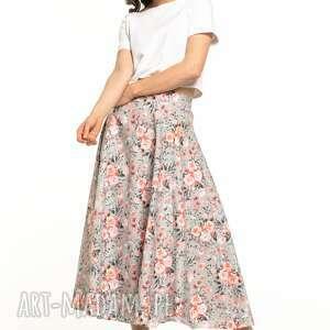 spódnica midi z tkaniny bawełnianej, t313, wzór kwiatowy, midi