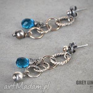 kolczyki z kwarcem teal blue