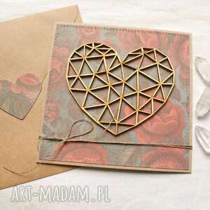 Kartka ślubna, miłosna - geometryczne serce róże kartki kaktusia