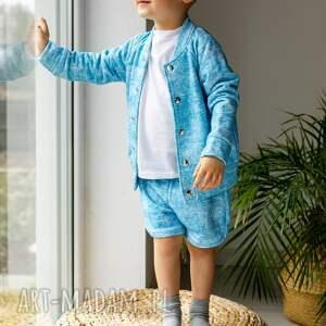 handmade komplet dla chłopca przecierany jeans niebieski