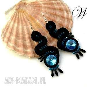 kolczyki sutasz turkusowo czarne, sutasz, kolczyki, eleganckie, modne