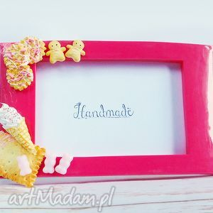 słodka ramka na zdjęcia - róż, fimo, różowy, prezent, słodycze ramki