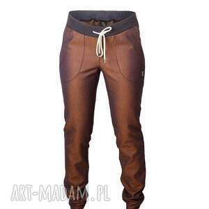 rude spodnie z bawełny, rude, obnizka, kolorowe, jeansy