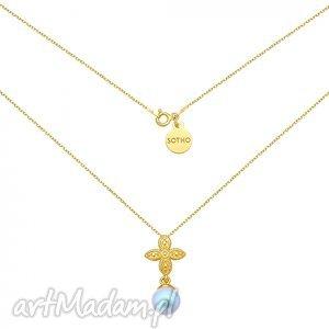 ręcznie wykonane naszyjniki złoty naszyjnik z rozetką i niebieską perłą swarovski® crystal