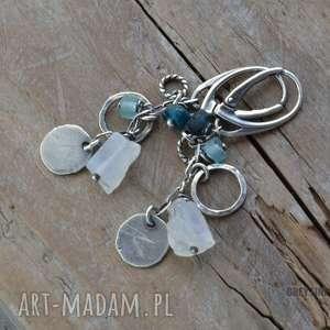 Wiszące ze szkłem antycznym i kamieniem księżycowym, srebro, szkło, afganskie