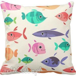 Poszewka na poduszkę dziecięca kolorowe rybki 3035 , poszewka, poduszka, kolorwe