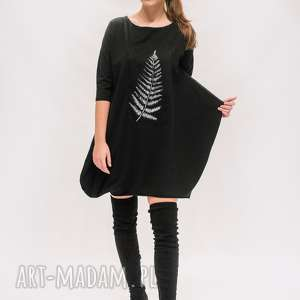 sukienka z liściem, boho tunika, sukienka, czarna mini
