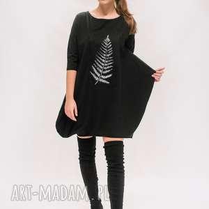 Sukienka z liściem, boho-tunika, boho-sukienka, czarna-sukienka, mini-sukienka
