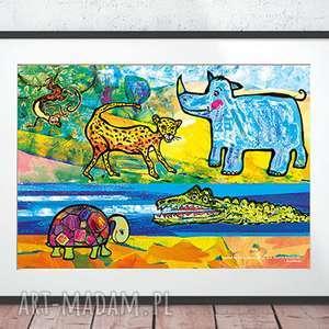 zoo obrazek do dziecięcego pokoju, plakat zoo, grafika dla dzieci, zwierzęta